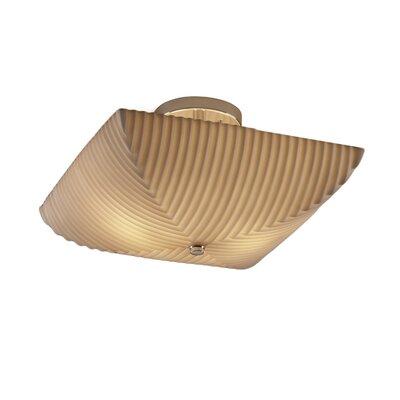 Burberry 2 Light Square Bowl Semi Flush Mount Impression: Pleats, Finish: Polished Chrome