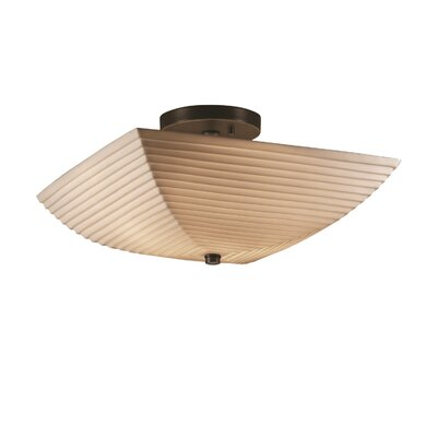 Burberry 2 Light Square Bowl Semi Flush Mount Finish: Dark Bronze, Impression: Sawtooth