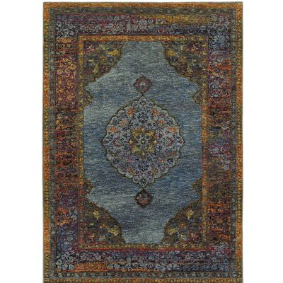 Rosalia Oriental Blue Area Rug Rug Size: Rectangle 53 x 73