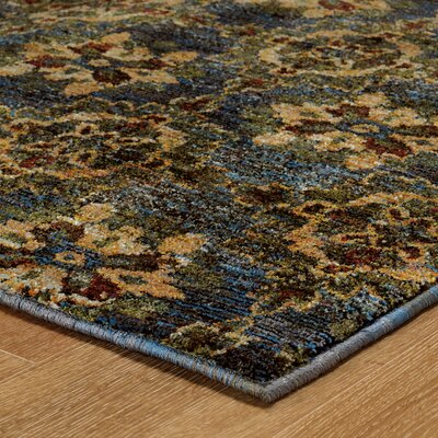 Rosalia Medallion Blue/Gold Area Rug Rug Size: 110 x 33