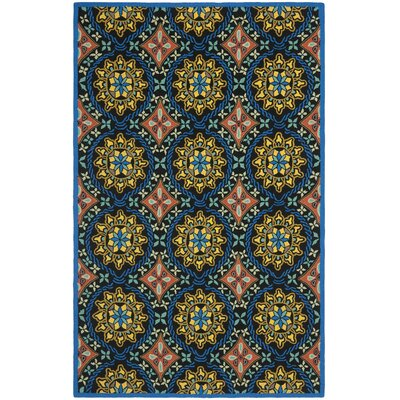 George Green/Blue Outdoor Area Rug Rug Size: Round 6