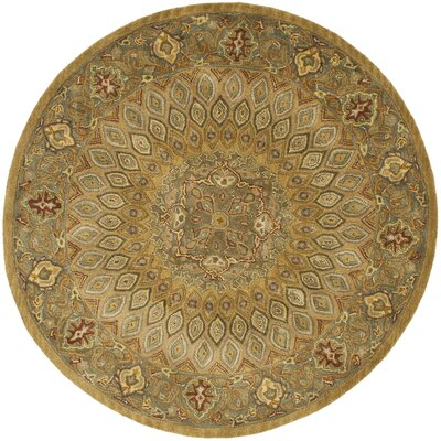 Gideon Light Brown/Grey Area Rug Rug Size: Round 10