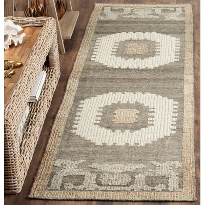 Gretta Hand-Tufted Wool Ivory/Brown Area Rug Rug Size: Rectangle 9 x 12