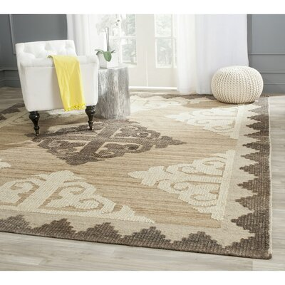 Gretta Hand-Tufted Wool Brown/Charcoal Area Rug Rug Size: Square 7