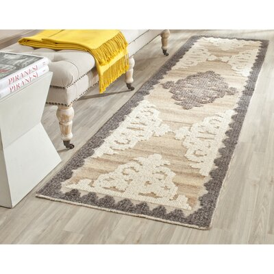 Gretta Hand-Tufted Wool Brown/Charcoal Area Rug Rug Size: Runner 23 x 8