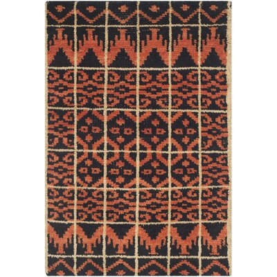 Gretta Orange & Black Contemporary Rug Rug Size: 2 x 3