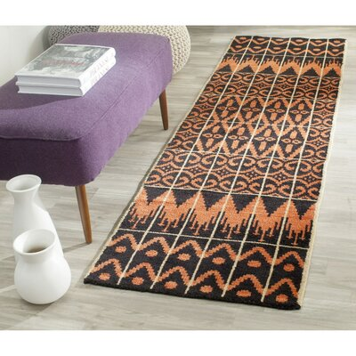 Gretta Orange & Black Contemporary Rug Rug Size: Runner 23 x 8