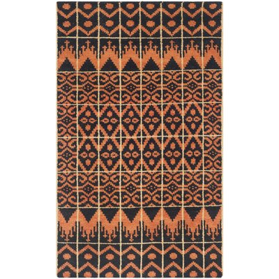 Gretta Orange & Black Contemporary Rug Rug Size: 4 x 6