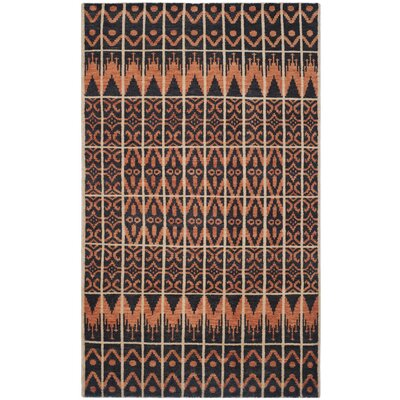 Gretta Orange & Black Contemporary Rug Rug Size: 6 x 9