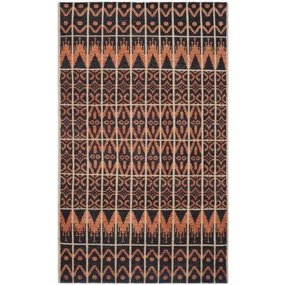 Gretta Orange & Black Contemporary Rug Rug Size: 6 x 9