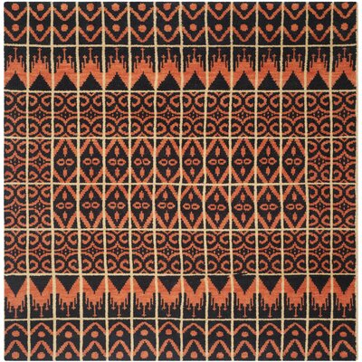Gretta Orange & Black Contemporary Rug Rug Size: Square 7