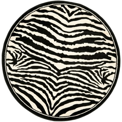 Lakewood Black/White Area Rug Rug Size: Round 4