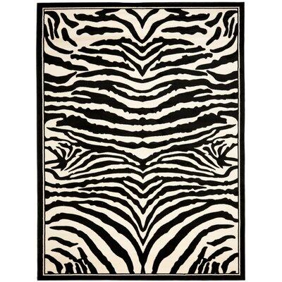 Lakewood Cream/Black Area Rug Rug Size: 53 x 76