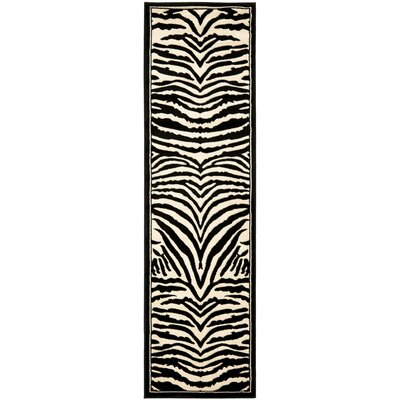 Lakewood Black/White Area Rug Rug Size: Runner 23 x 16