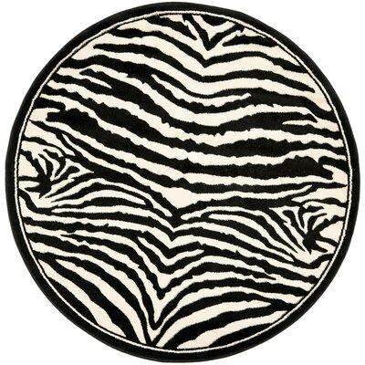 Lakewood Cream/Black Area Rug Rug Size: Round 8
