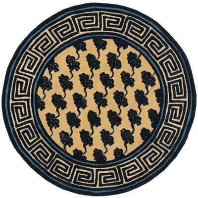 Layoune Beige/Blue Geometric Area Rug Rug Size: Round 6