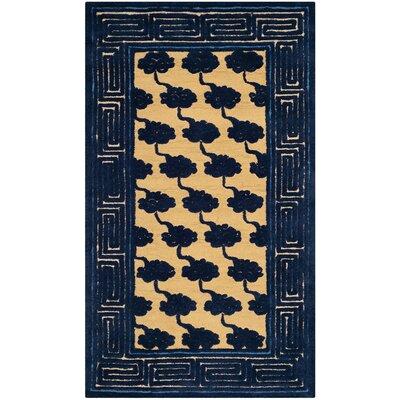 Layoune Beige/Blue Geometric Area Rug Rug Size: 56 x 86