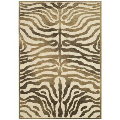 Linden Zebra Brown Area Rug Rug Size: 53 x 76