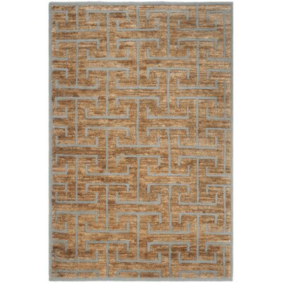 Elise Hand-Woven Grey/Beige Area Rug Rug Size: Rectangle 4 x 6