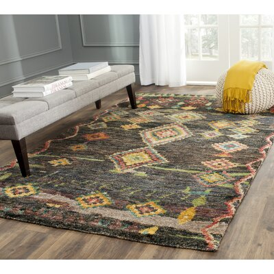 Elise Hand-Knotted Black Area Rug Rug Size: Rectangle 4 x 6