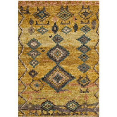 Elise Hand-Woven Wool Gold Area Rug Rug Size: Rectangle 4 x 6
