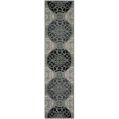 Dorothy Grey / Black Area Rug Rug Size: Runner 23 x 9