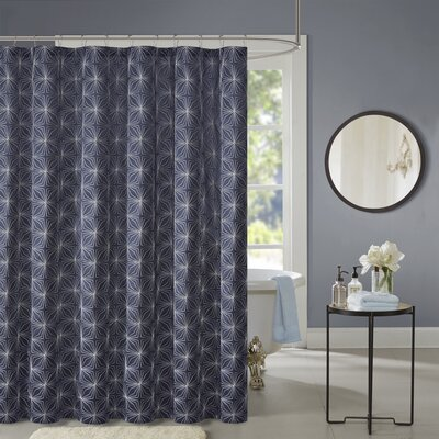 Dorida Polyester Shower Curtain Color: Navy