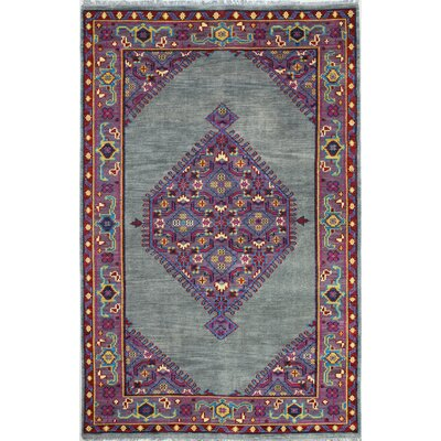 Enschede Hand-Knotted Grey Area Rug Rug Size: 36 x 56
