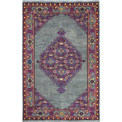 Enschede Hand-Knotted Grey Area Rug Rug Size: 86 x 116
