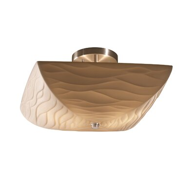 Thora 2 Light Square Bowl Semi Flush Mount Impression: Waves, Finish: Antique Brass