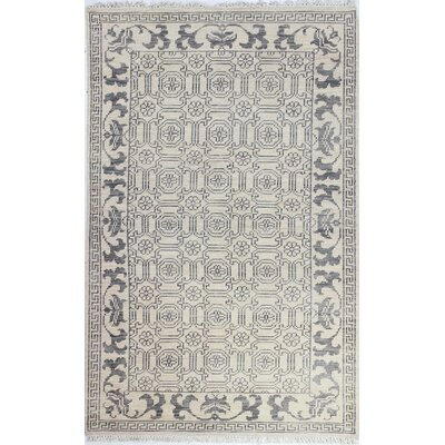 Cristhian Hand-Knotted Ivory Area Rug Rug Size: 76 x 96