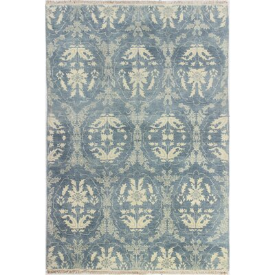Bhairu Hand-Knotted Light Blue Area Rug Rug Size: 99 x 139