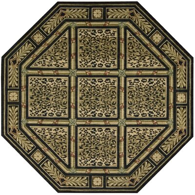 Anne Wool Green/Beige Area Rug Rug Size: 99 x 139
