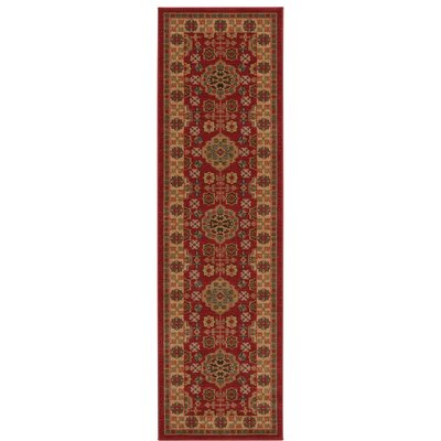 Fekhara Red Area Rug Rug Size: Runner 22 x 76