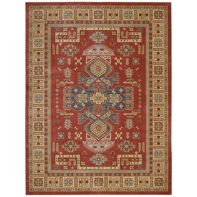 Garney Red/Beige Area Rug Rug Size: Rectangle 53 x 74