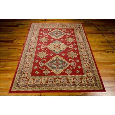 Quoizel Red/Gold Area Rug Rug Size: 93 x 129