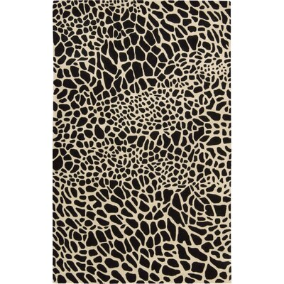 Goulmima Hand-Woven Black/Ivory Area Rug Rug Size: 36 x 56