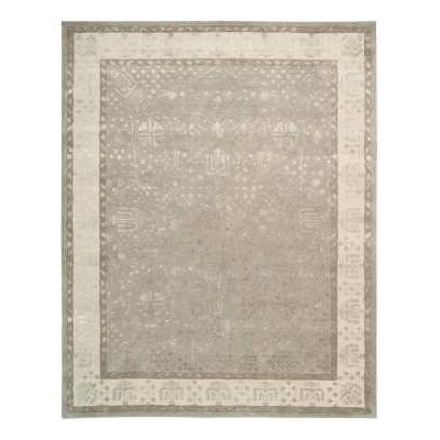 Veda Hand-Tufted Warm Taupe Area Rug Rug Size: 76 x 96