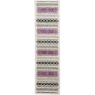 Lucy Beige/Black/Purple Area Rug Rug Size: Runner 27 x 10