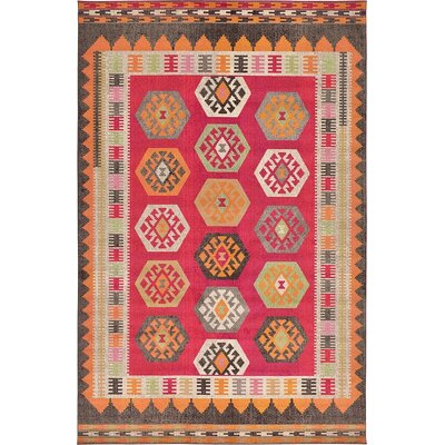 Broadway Red Area Rug Rug Size: 106 x 165