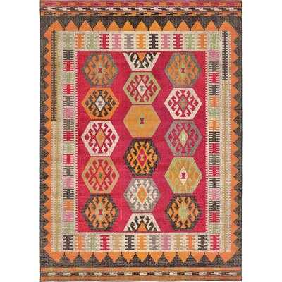 Broadway Red Area Rug Rug Size: 7 x 10