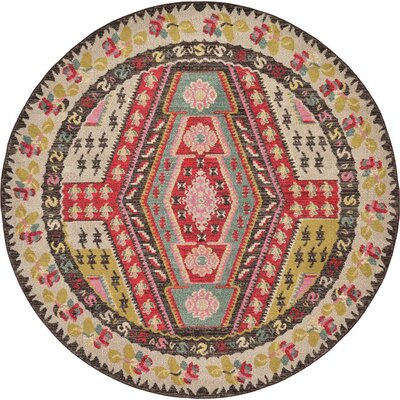 Broadway Brown/Cream Area Rug Rug Size: Round 8