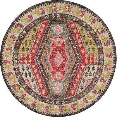Broadway Brown/Cream Area Rug Rug Size: Round 6
