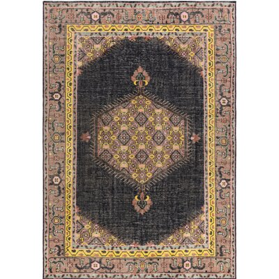 Fender Hand-Knotted Black/Pink Area Rug Rug Size: Rectangle 8 x 11