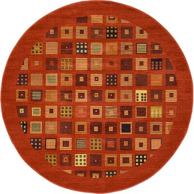 Jan Brown Area Rug Rug Size: Round 6