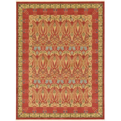 Fonciere Red Area Rug Rug Size: Rectangle 9 x 12