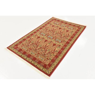 Fonciere Red Area Rug Rug Size: Rectangle 33 x 53