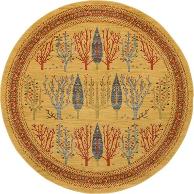 Virginia Mustard/Orange Area Rug Rug Size: Round 6