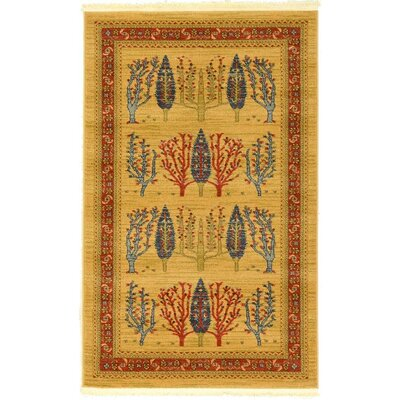 Jan Mustard/Orange Area Rug Rug Size: Rectangle 33 x 53