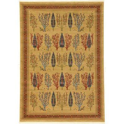 Virginia Mustard/Orange Area Rug Rug Size: Rectangle 7 x 10